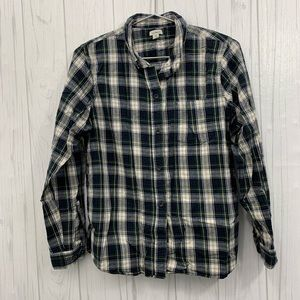 L.L. BEAN STRIPED HEAVY FLANNEL GREEN& BLUE MEDIUM